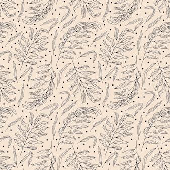 Hand getekend palmblad naadloze patroon