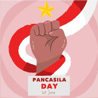 Hand getekend pancasila dag illustratie