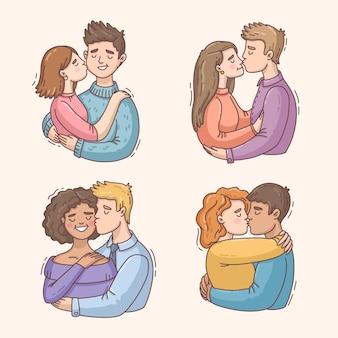 Hand getekend paren kussen illustratie