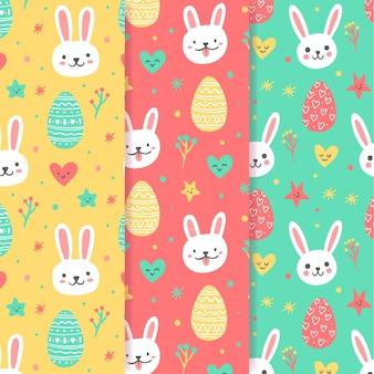 Hand getekend pasen naadloze patroon met bunny avatars