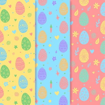 Hand getekend pasen naadloze patroon met kleurrijke eieren