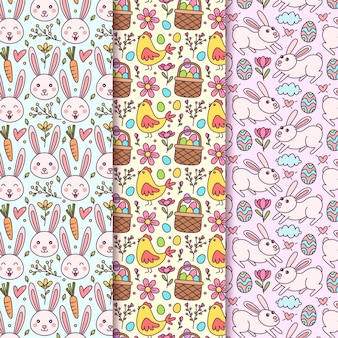 Hand getekend pasen naadloze patroon met konijntjes