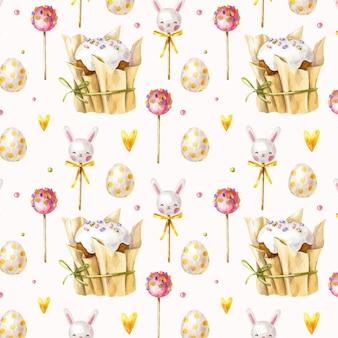 Hand getekend pasen-patroon met pasen-cakes, lollies, suikergoed en eieren