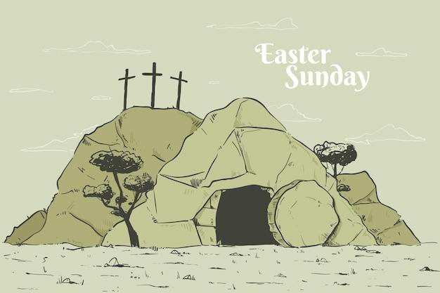 Hand getekend pasen zondag illustratie
