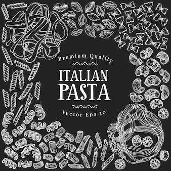 Hand getekend pasta ontwerpsjabloon.