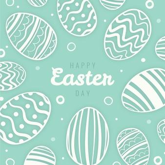 Hand getekend pastel zwart-wit pasen illustratie met eieren