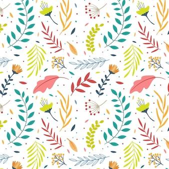 Hand getekend patroon met bladeren