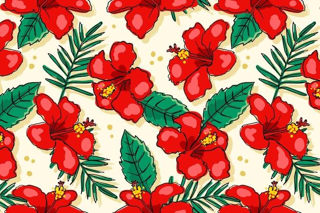 Hand getekend patroon met bloemen