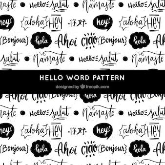 Hand getekend patroon met hallo woord in verschillende talen