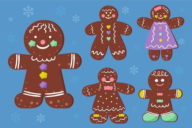 Hand getekend peperkoek man cookie-collectie