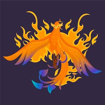 Hand getekend phoenix illustratie