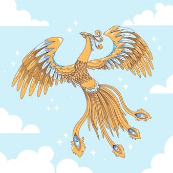 Hand getekend phoenix in de lucht