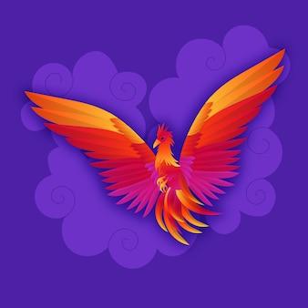 Hand getekend phoenix in de nachtelijke hemel