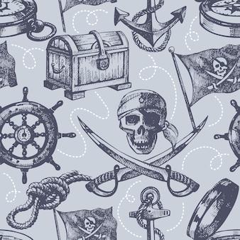 Hand getekend piraat naadloos patroon