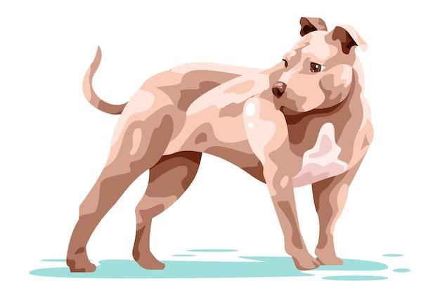 Hand getekend pitbull illustratie