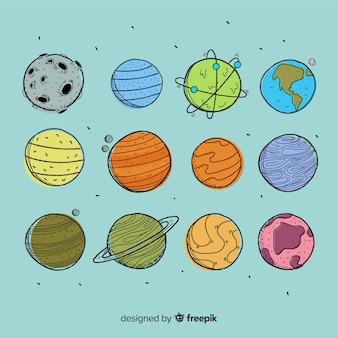Hand getekend planeet collectie