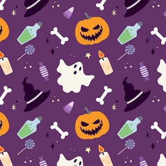 Hand getekend plat halloween-patroonontwerp