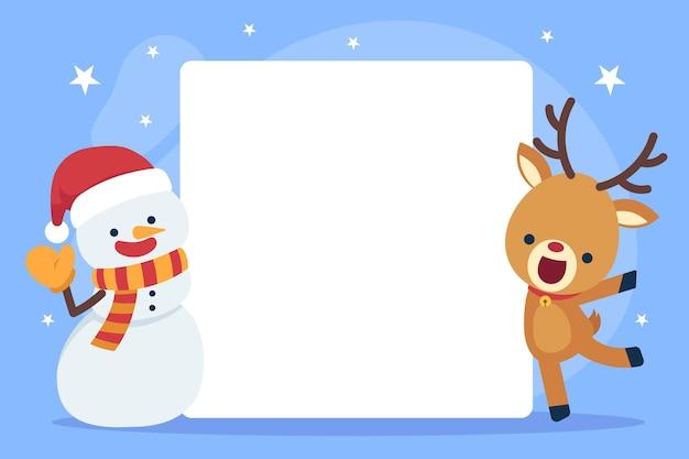 Hand getekend plat kerstkarakter met lege banner