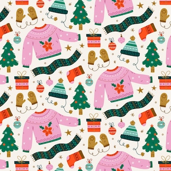 Hand getekend plat kerstpatroon