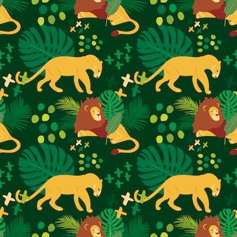 Hand getekend plat naadloos patroon met leeuwen
