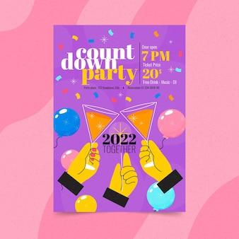 Hand getekend plat nieuwjaar verticale postersjabloon met countdown party