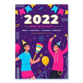 Hand getekend plat nieuwjaar verticale postersjabloon met mensen op feestje