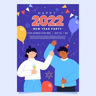 Hand getekend plat nieuwjaar verticale postersjabloon
