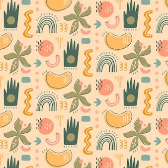Hand getekend plat ontwerp abstracte vormen patroon