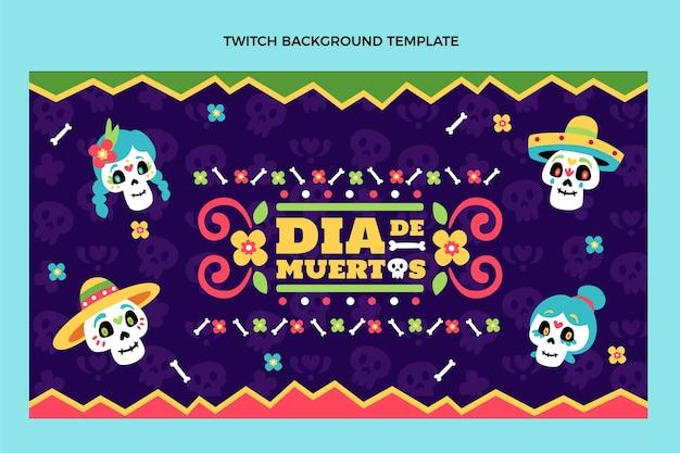 Hand getekend plat ontwerp dia de muertos twitch achtergrond