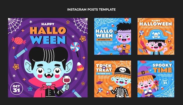 Hand getekend plat ontwerp halloween ig post