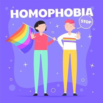 Hand getekend plat ontwerp stop homofobie concept