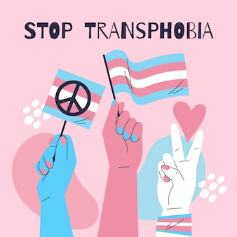 Hand getekend plat ontwerp stop transfobie concept