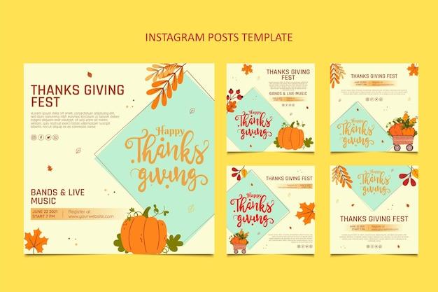Hand getekend plat ontwerp thanksgiving ig post