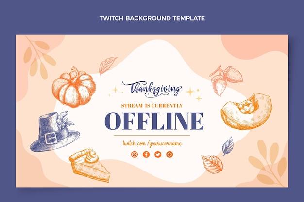 Hand getekend plat ontwerp thanksgiving twitch achtergrond