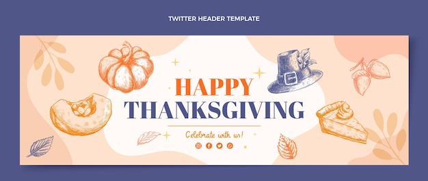 Hand getekend plat ontwerp thanksgiving twitter header