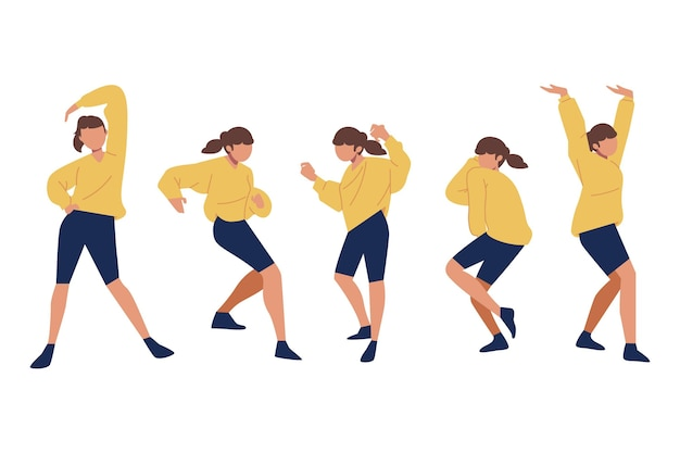 Hand getekend plat ontwerp van dansende mensen