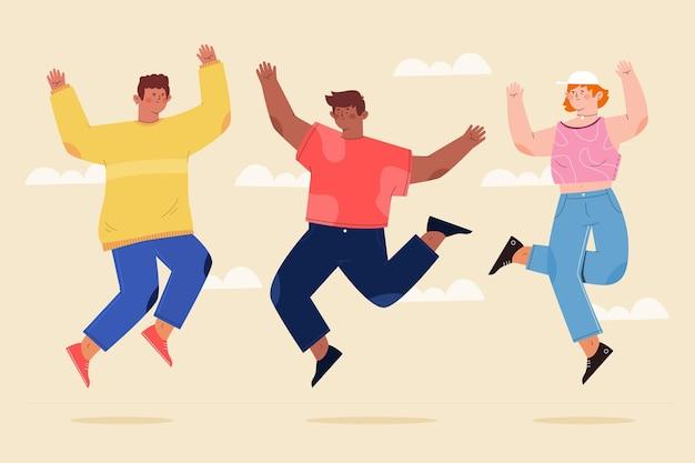 Hand getekend plat ontwerp van mensen die springen