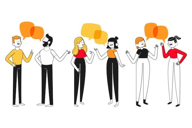 Hand getekend plat ontwerp van pratende mensen
