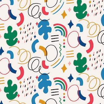 Hand getekend plat patroon met abstracte vormen