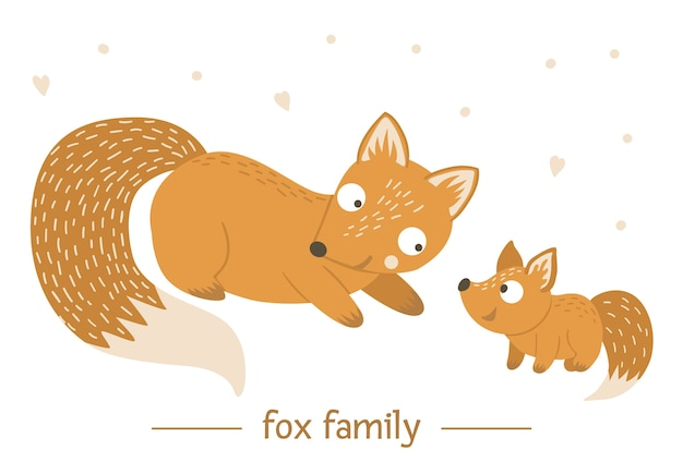 Hand getekend platte baby vos met ouder.