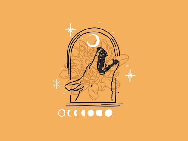 Hand getekend platte grafische illustratie met logo-elementen, huilende wolfshoofd en maan magische lijntekeningen in eenvoudige stijl