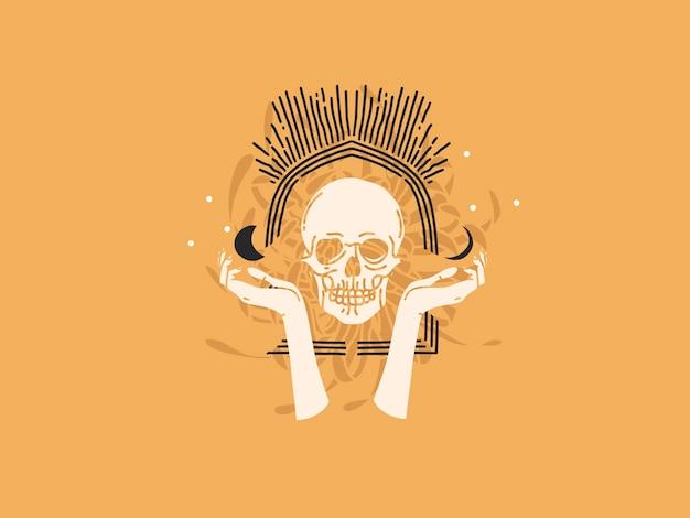 Hand getekend platte grafische illustratie met logo-elementen, schedel en maanstanden, magische lijn mystieke kunst in eenvoudige stijl