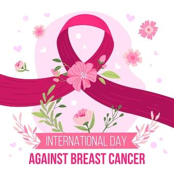 Hand getekend platte internationale dag tegen borstkanker illustratie