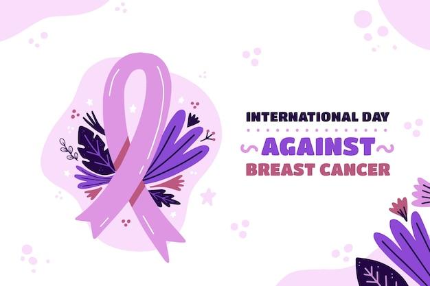 Hand getekend platte internationale dag tegen de achtergrond van borstkanker