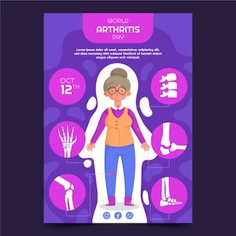 Hand getekend platte wereld artritis dag verticale poster sjabloon