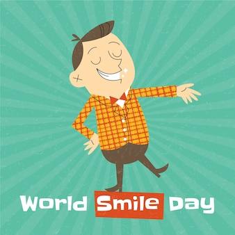 Hand getekend platte wereld glimlach dag achtergrond met man die lacht