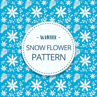 Hand getekend platte winter blad patroon in blauw witte sjabloon