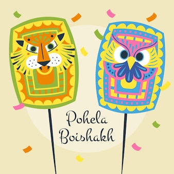 Hand getekend pohela boishakh illustratie