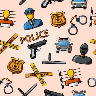 Hand getekend politie kleurenpatroon