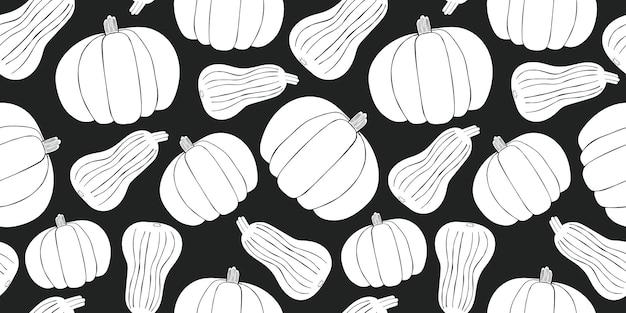 Hand getekend pompoen naadloze patroon. biologische cartoon verse groente illustratie.